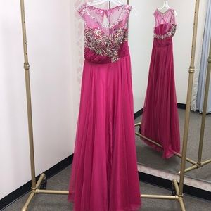 Fuchsia Chiffon A-Line Beaded Prom Gown